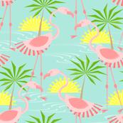 flamingos 5 24 18 irreg layout 36 sq on lt teal