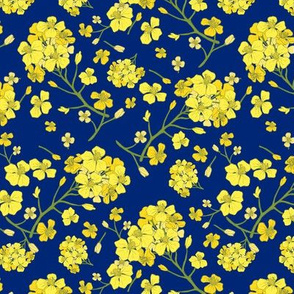 Floral Love of Mustard in Blue
