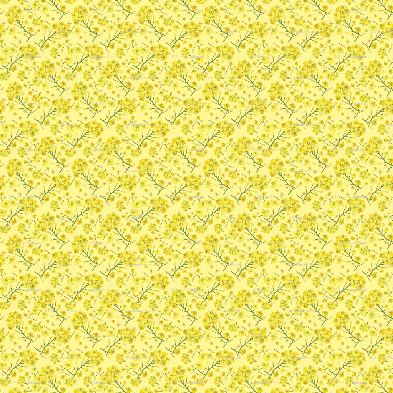 82758ab3fb4 Floral Love of Mustard in Yellow wallpaper - bristol and breve - Spoonflower