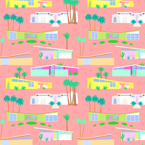 Palm Springs Houses fabric by elliottdesignfactory on Spoonflower - custom fabric