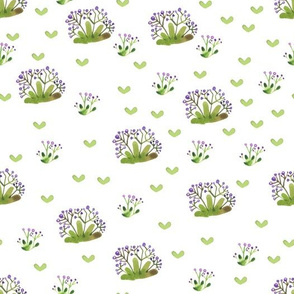 Delicate watercolor pattern with forest grass