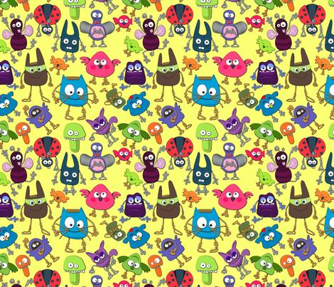 Monster pattern yellow fabric by zazulla on Spoonflower - custom fabric