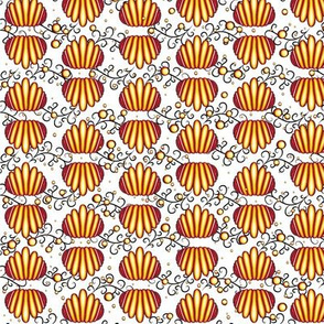 Seamless pattern in the style of a cardboard with sea shells
