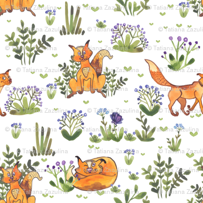 Watercolor cats in the grass