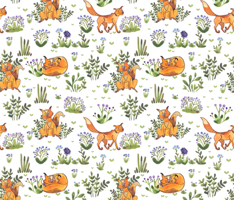 Watercolor cats in the grass fabric by zazulla on Spoonflower - custom fabric