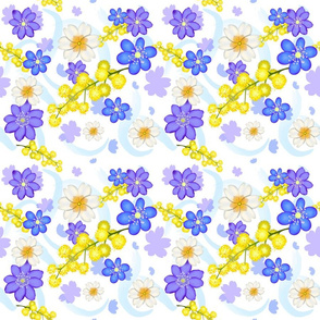 Spring festive pattern with mimosa