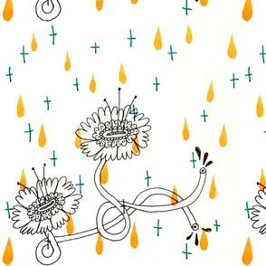 orange drop and flowers pattern tile