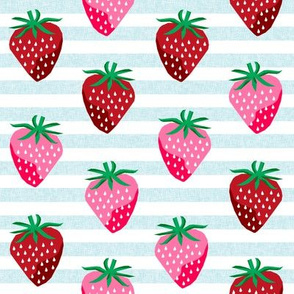 strawberry fruit summer food berry fabric stripes blue