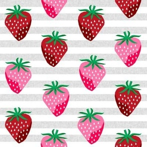 strawberry fruit summer food berry fabric stripes grey