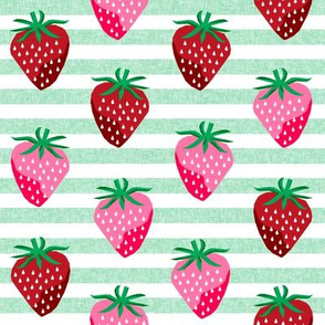 strawberry fruit summer food berry fabric stripes mint