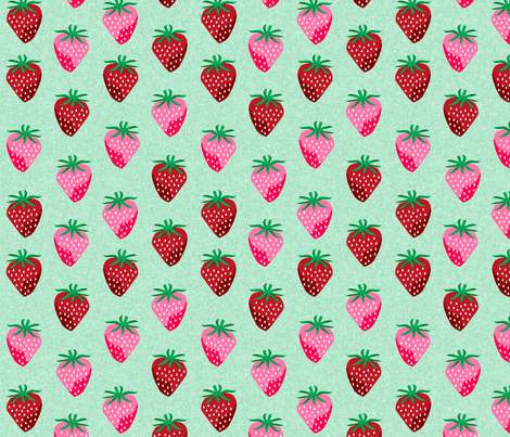 strawberry fruit summer food berry fabric mint fabric by charlottewinter on Spoonflower - custom fabric