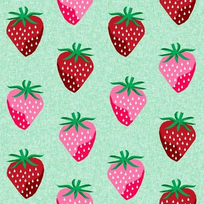 strawberry fruit summer food berry fabric mint