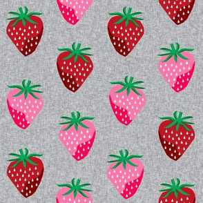strawberry fruit summer food berry fabric grey