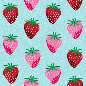 strawberry fruit summer food berry fabric blue