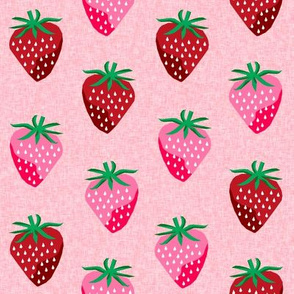 strawberry fruit summer food berry fabric pink