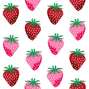 strawberry fruit summer food berry fabric white