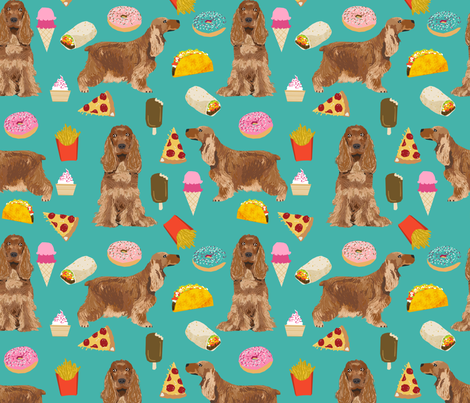 cocker spaniel junk food dog breed fabric turq fabric by petfriendly on Spoonflower - custom fabric