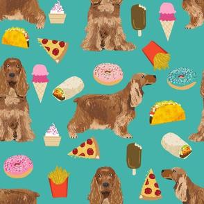 cocker spaniel junk food dog breed fabric turq
