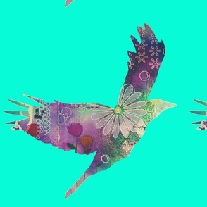 Free As A Bird turquoise background