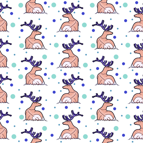 Deer, blue and green dotts fabric by sara_kristina_elisabeth_ on Spoonflower - custom fabric