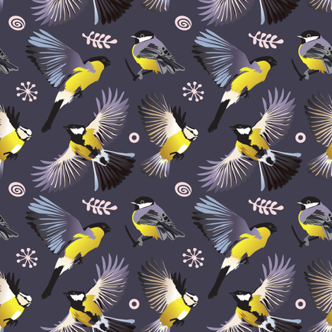tweet in the garden | coordinating birds 2 fabric by camcreative on Spoonflower - custom fabric