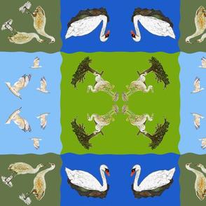 Bird Quilt Cheater Cloth