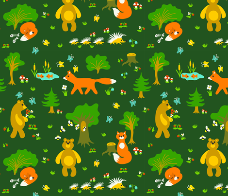 Cute foxes and bears fabric by tasipas on Spoonflower - custom fabric