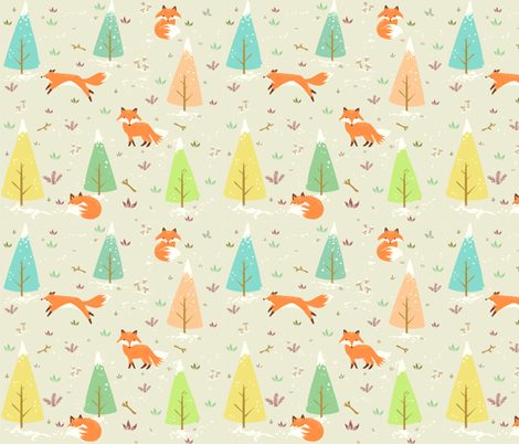 Winter Foxes fabric by bird_tale on Spoonflower - custom fabric