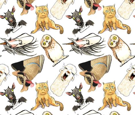 Drama Llama and the Emotional Animals fabric by jinjer on Spoonflower - custom fabric
