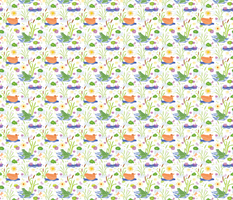 Summer at the Duck Pond with Ducks & Green Frogs fabric by limolida on Spoonflower - custom fabric