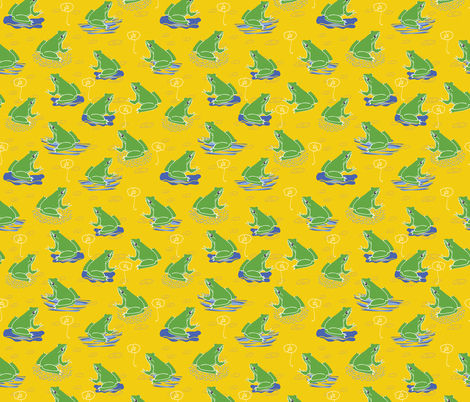Green Frogs Frolicking on Lily Pads on the Pond Water , Sunshine Yellow for Happy Summer Vibe  fabric by limolida on Spoonflower - custom fabric