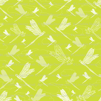 Spring Green Dragonfly , Summer at the Duck Pond Collection, Lime Green Fresh Mood