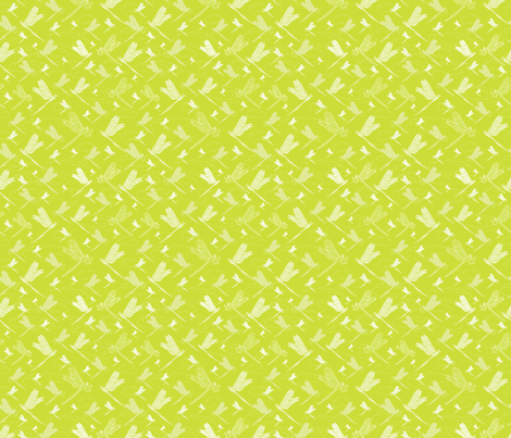 Spring Green Dragonfly , Summer at the Duck Pond Collection, Lime Green Fresh Mood  fabric by limolida on Spoonflower - custom fabric
