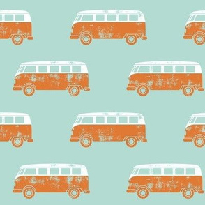 retro van - camping - surfing - orange on light aqua