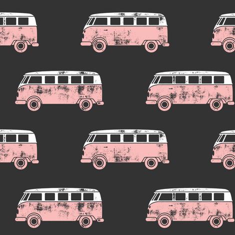 retro van - camping - surfing - pink on grey fabric by littlearrowdesign on Spoonflower - custom fabric