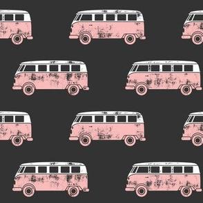 retro van - camping - surfing - pink on grey