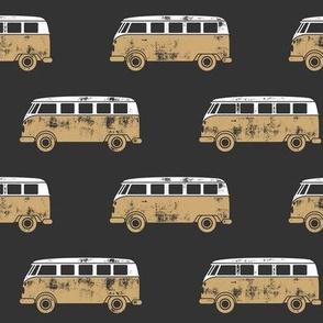 retro van - camping - surfing - grey