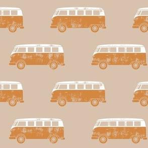 retro van - camping - surfing - rust on tan