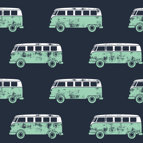 retro van - camping - surfing - aqua on blue fabric by littlearrowdesign on Spoonflower - custom fabric