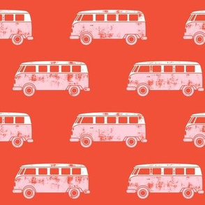 retro van - camping - surfing - pink on red