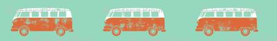 retro van - camping - surfing - orange and aqua