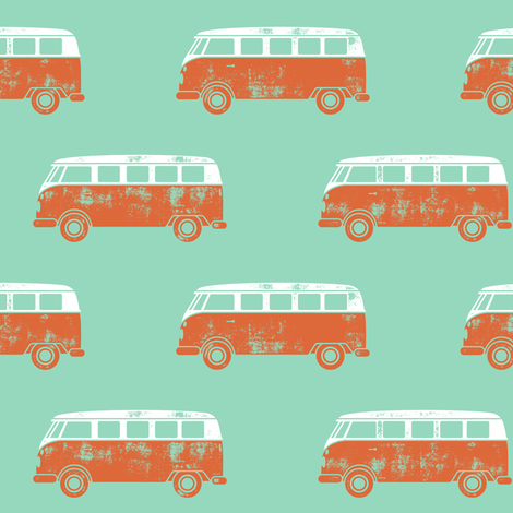 retro van - camping - surfing - orange and aqua fabric by littlearrowdesign on Spoonflower - custom fabric