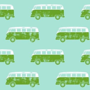 retro van - camping - surfing - green