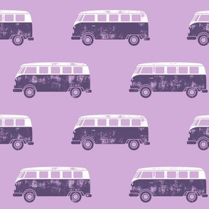 retro van - camping - surfing - purple