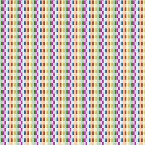 Green, purple, pink, yellow and blue checkered