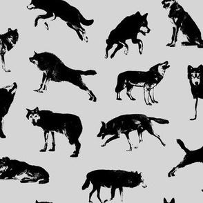 Wolves on Light Grey // Large-size