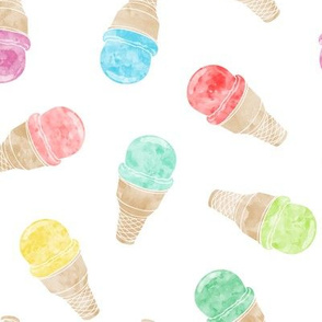 watercolor ice-cream cones - multi