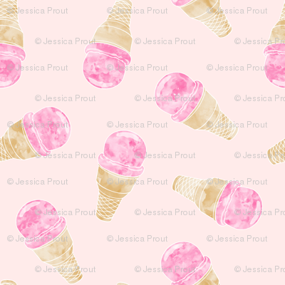 (small scale) watercolor ice-cream cones on pale pink