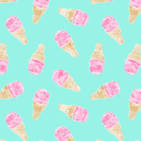 (small scale) watercolor ice-cream cones on teal fabric by littlearrowdesign on Spoonflower - custom fabric