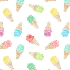 (small scale) watercolor ice-cream cones - multi